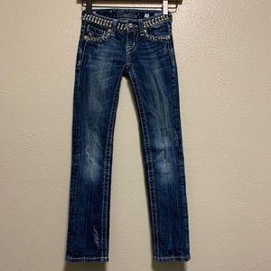 Girls Miss Me studded waist straight leg jeans